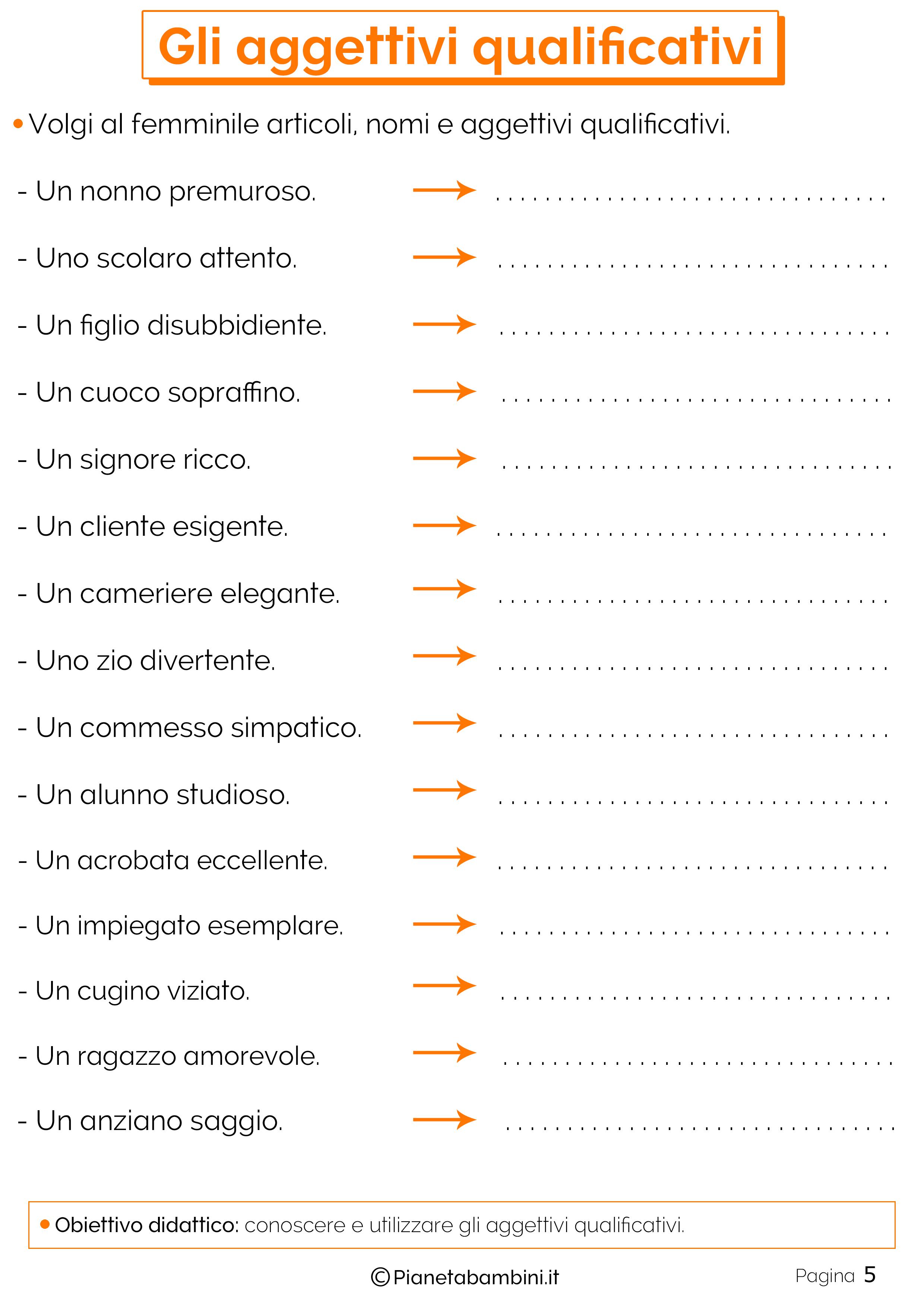 Esercizi sugli aggettivi qualificativi 5