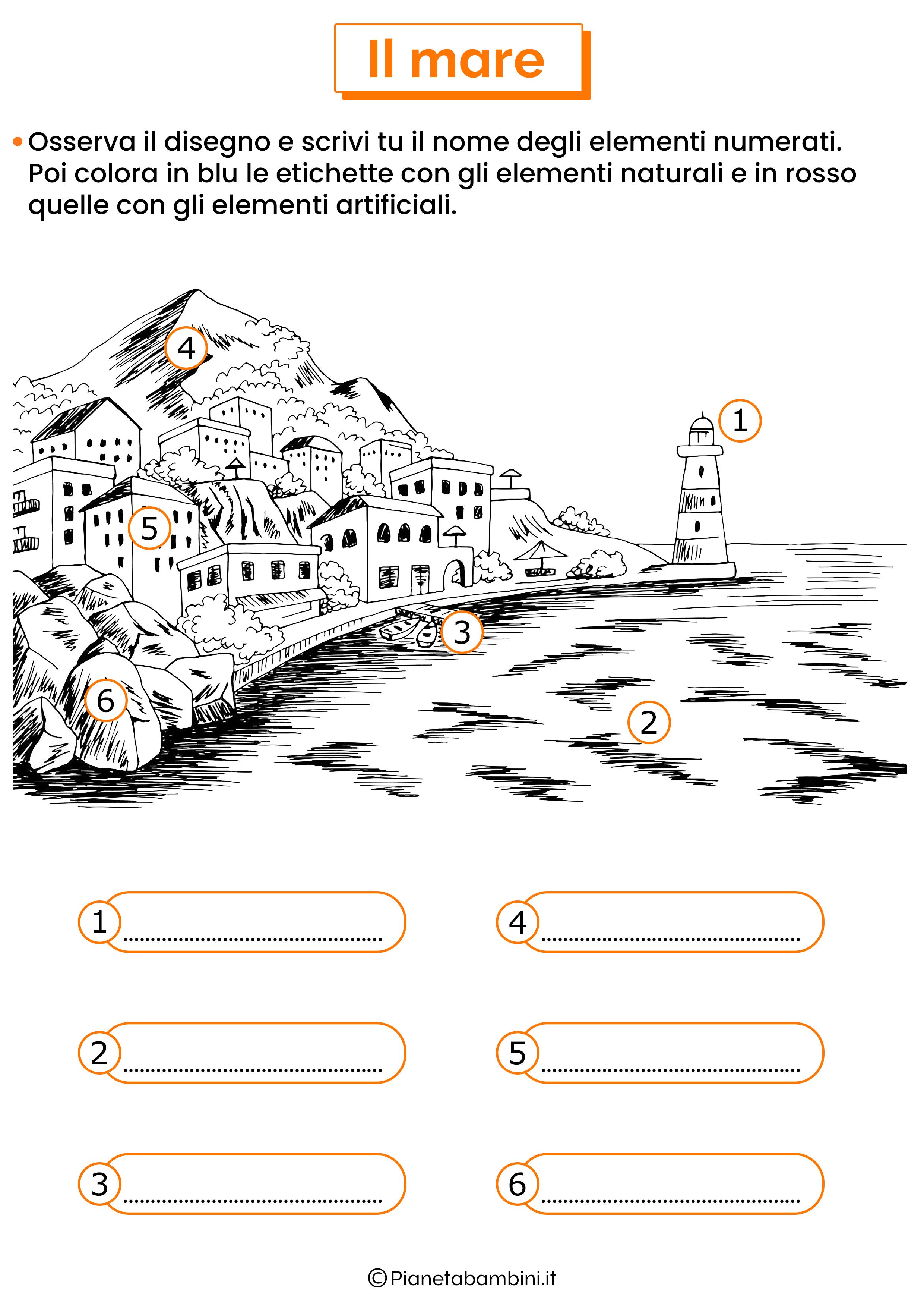Esercizio sugli elementi del mare