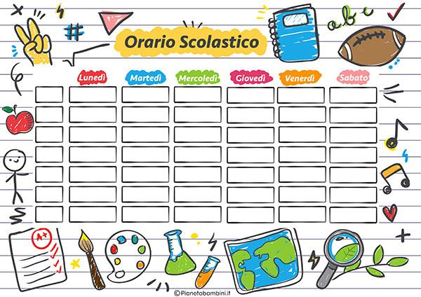 Tabella dell'orario scolastico da stampare gratis n.01