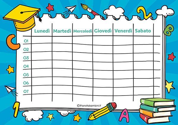 Tabella dell'orario scolastico da stampare gratis n.03