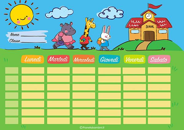 Tabella dell'orario scolastico da stampare gratis n.05