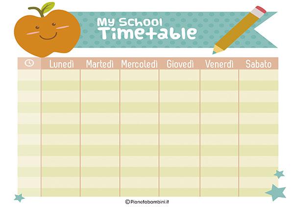Tabella dell'orario scolastico da stampare gratis n.09