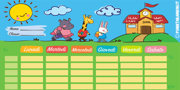 Modelli di tabelle dell'orario scolastico settimanale da stampare gratis