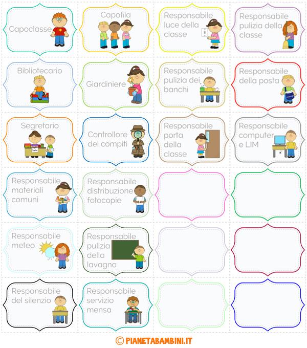 Targhette degli incarichi per gli alunni della scuola for Cartelloni scuola infanzia