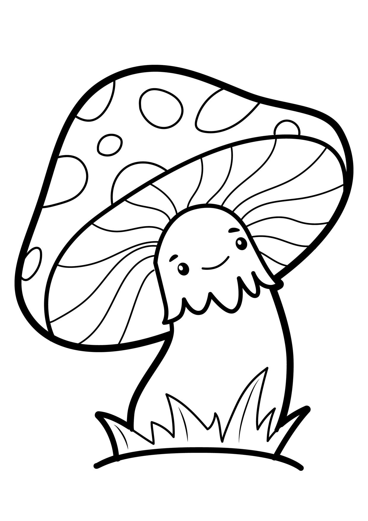 Disegno di funghi da colorare 01