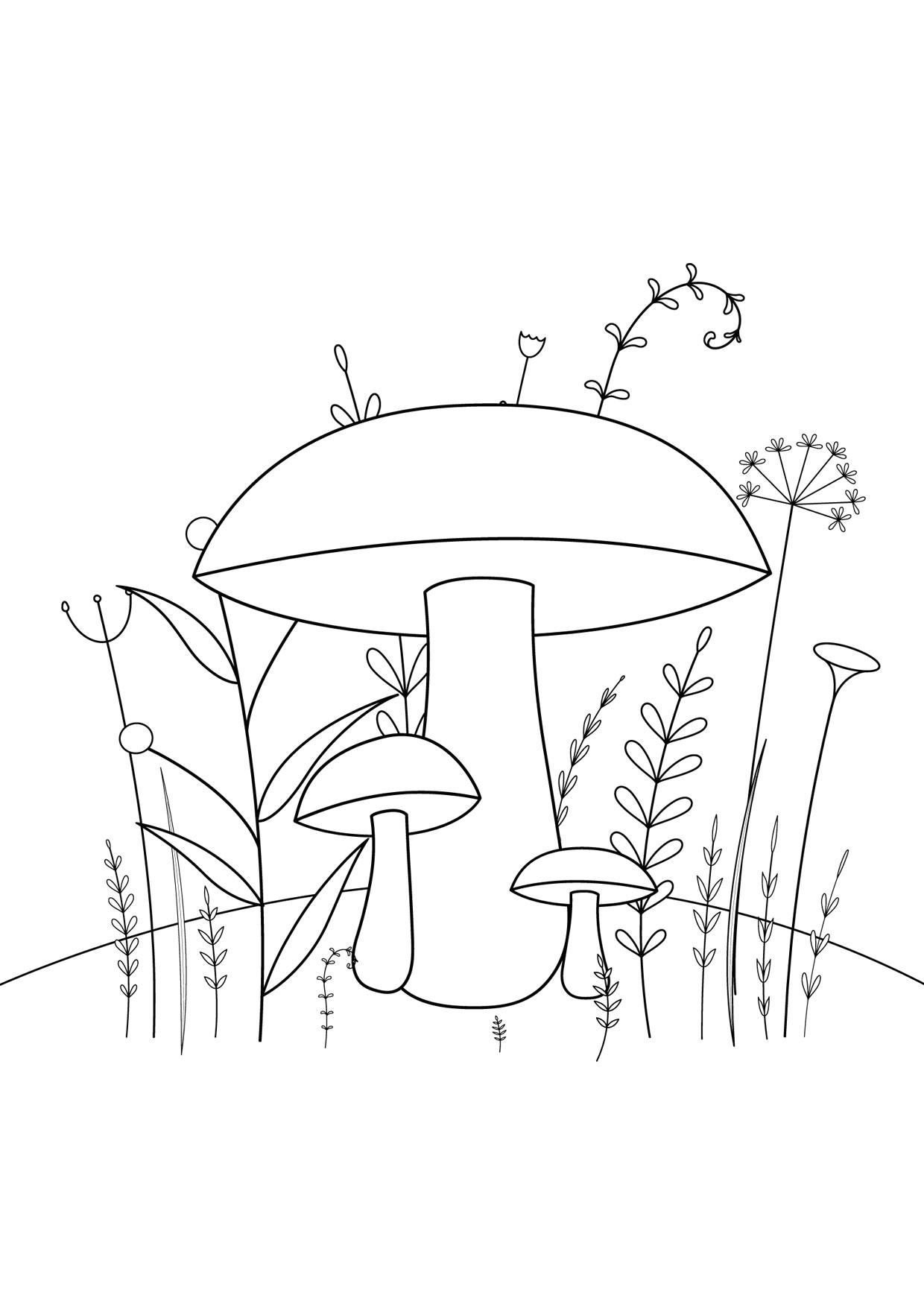 Disegno di funghi da colorare 06