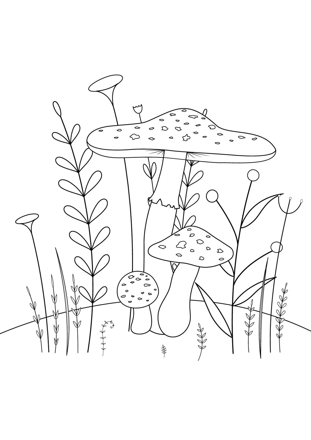 Disegno di funghi da colorare 09