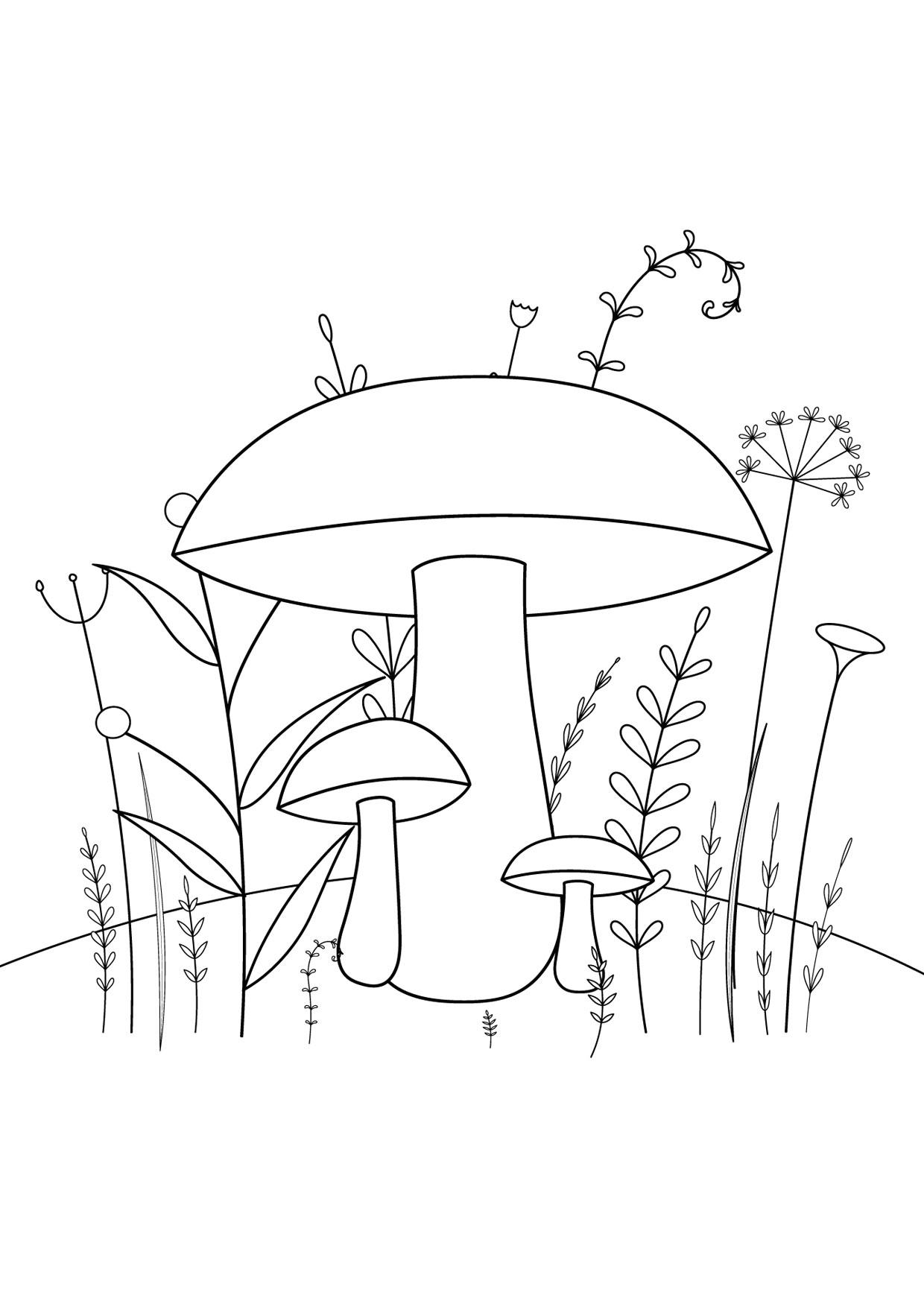 Disegno di funghi da colorare 10