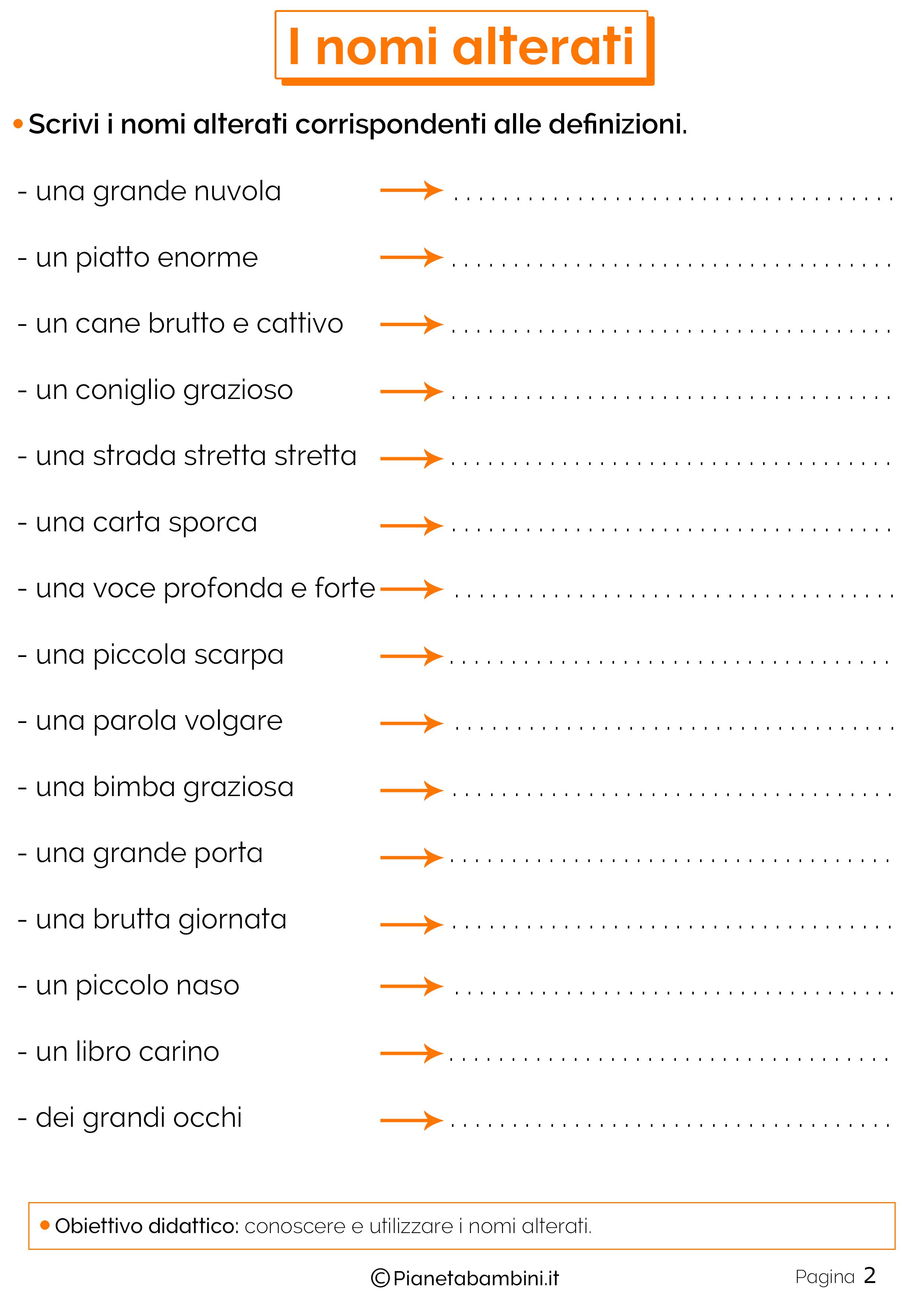 i nomi alterati esercizi per la scuola primaria