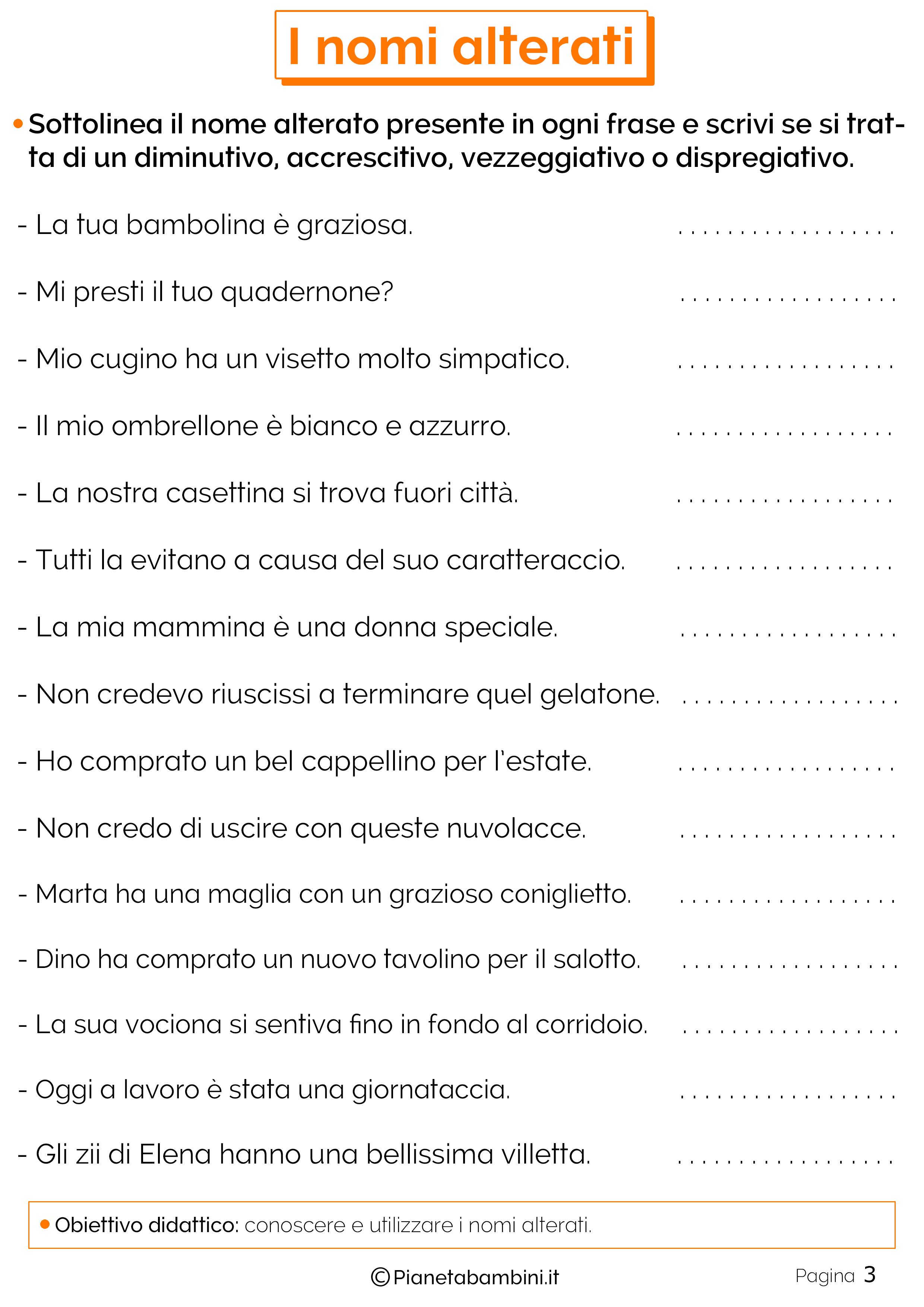 I Nomi Alterati Esercizi Per La Scuola Primaria Pianetabambiniit