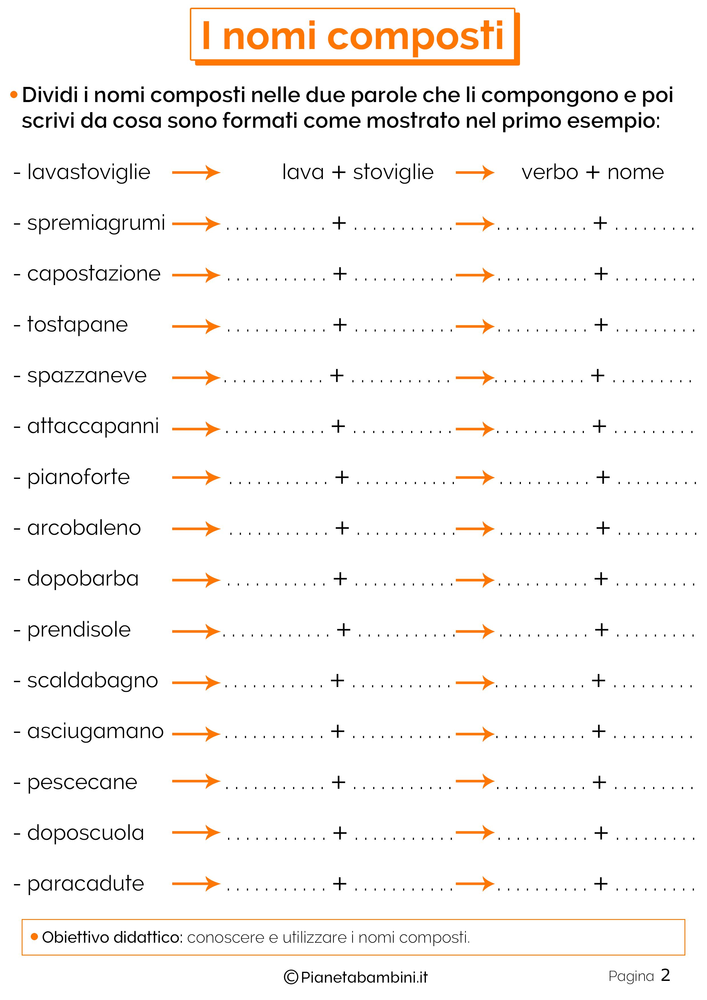 Esercizi sui nomi composti 2