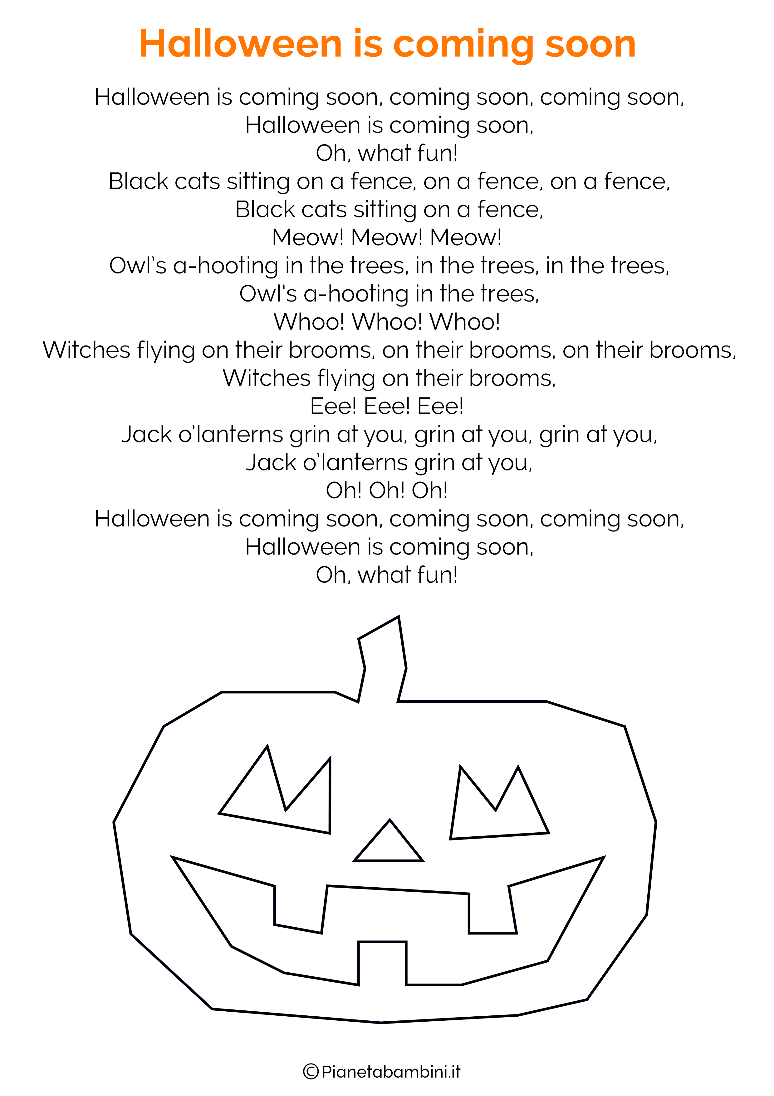 Favoloso 20 Filastrocche di Halloween in Inglese | PianetaBambini.it FG53