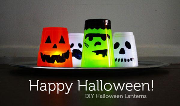Come creare delle lanterne di Halloween con bicchieri di plastica