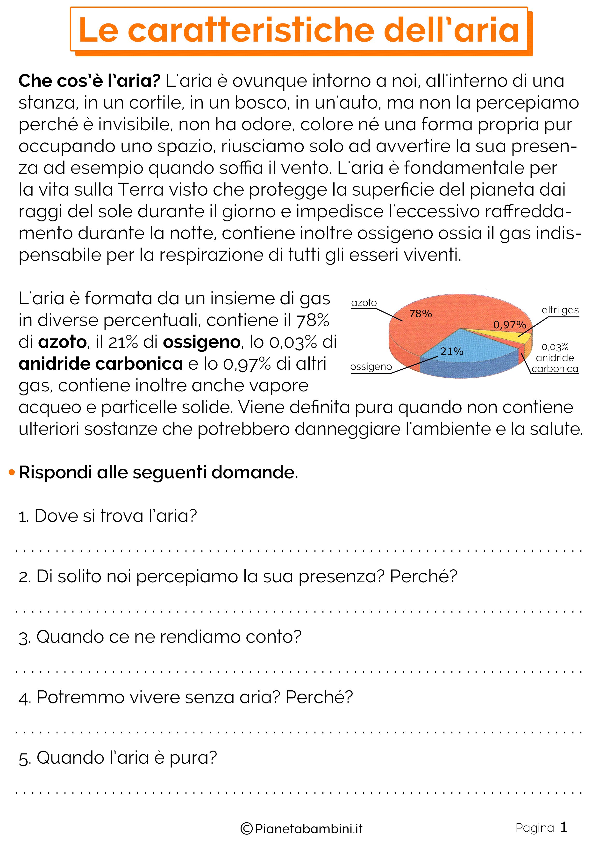 Esercizi sulle caratteristiche dell'aria