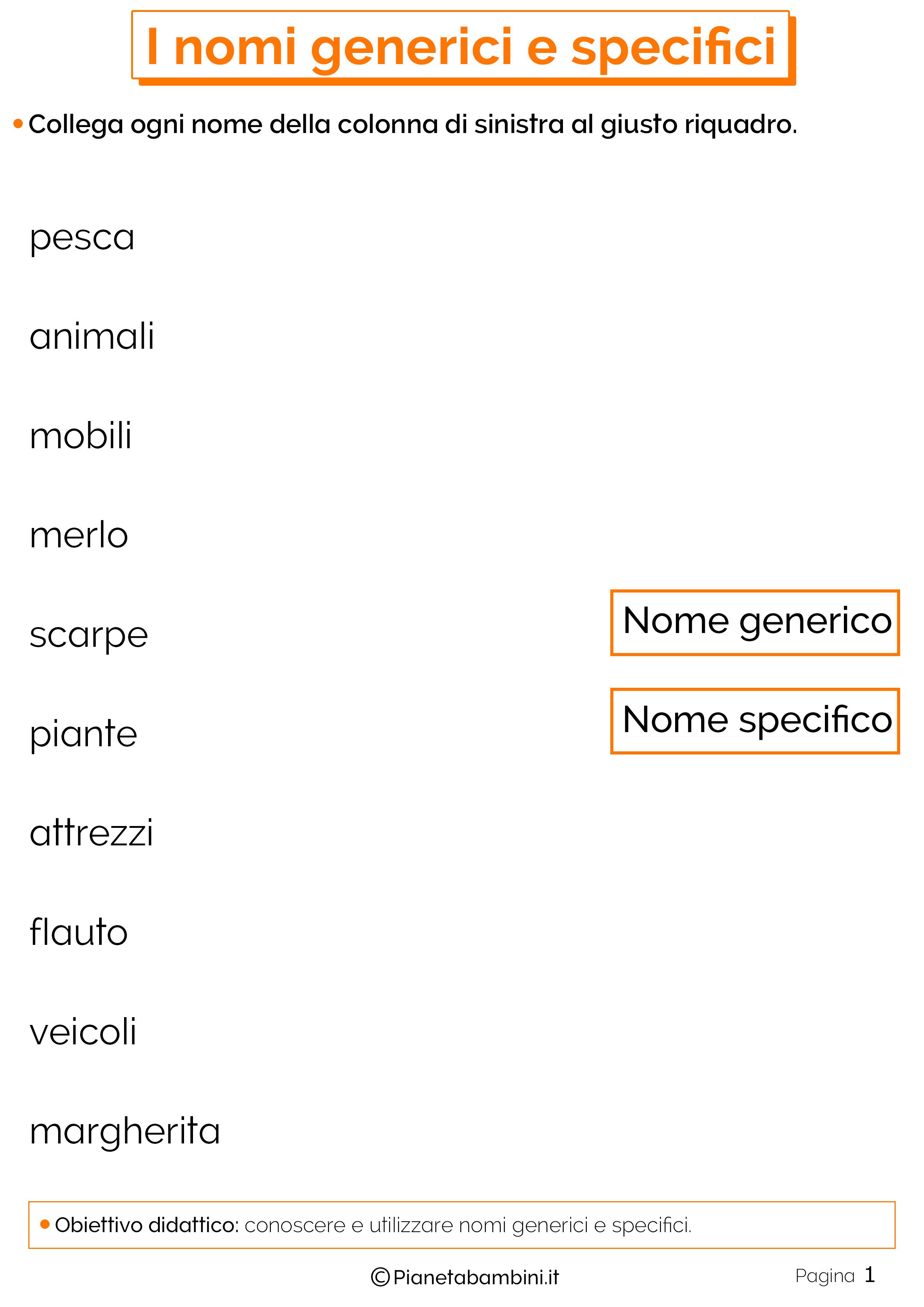 Esercizi sui nomi generici e specifici 1