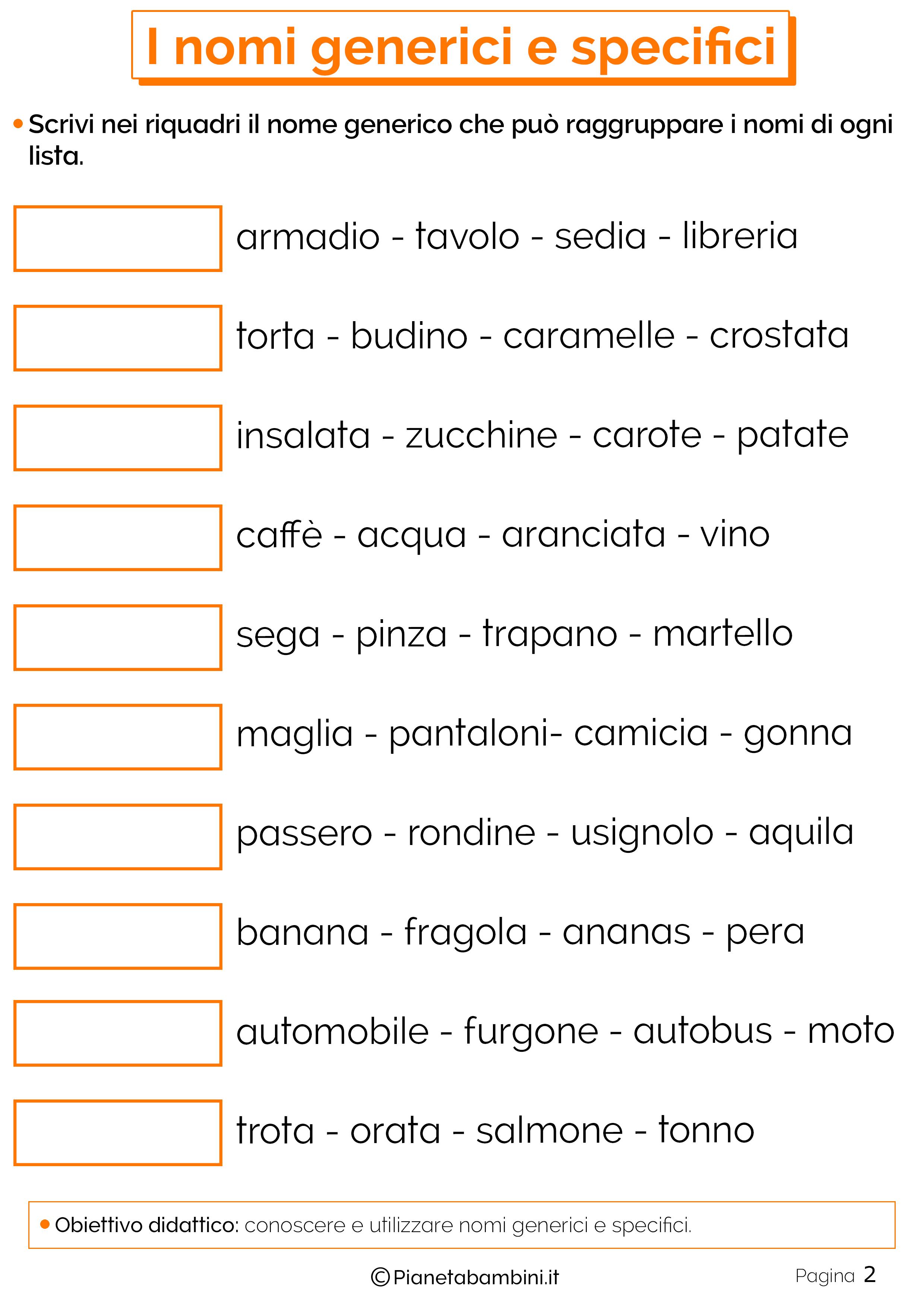 Esercizi sui nomi generici e specifici 3