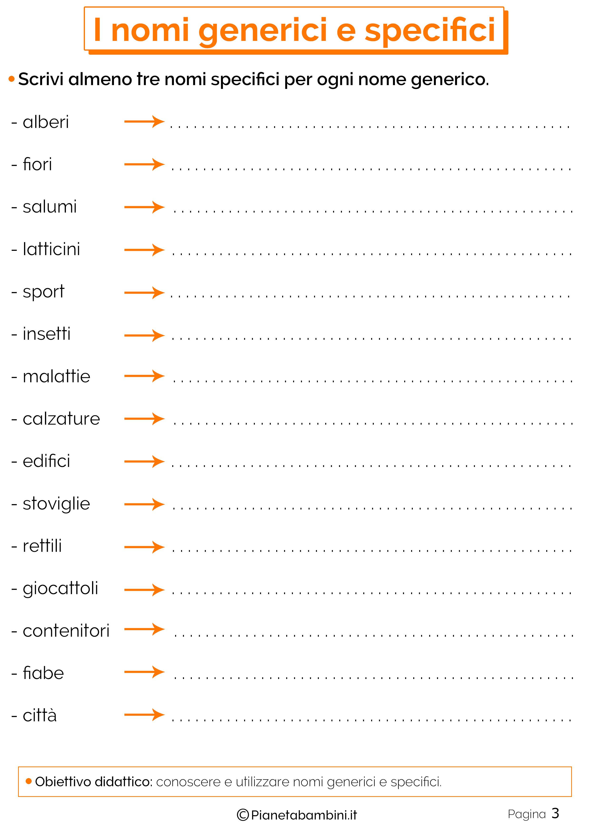 Esercizi sui nomi generici e specifici 2