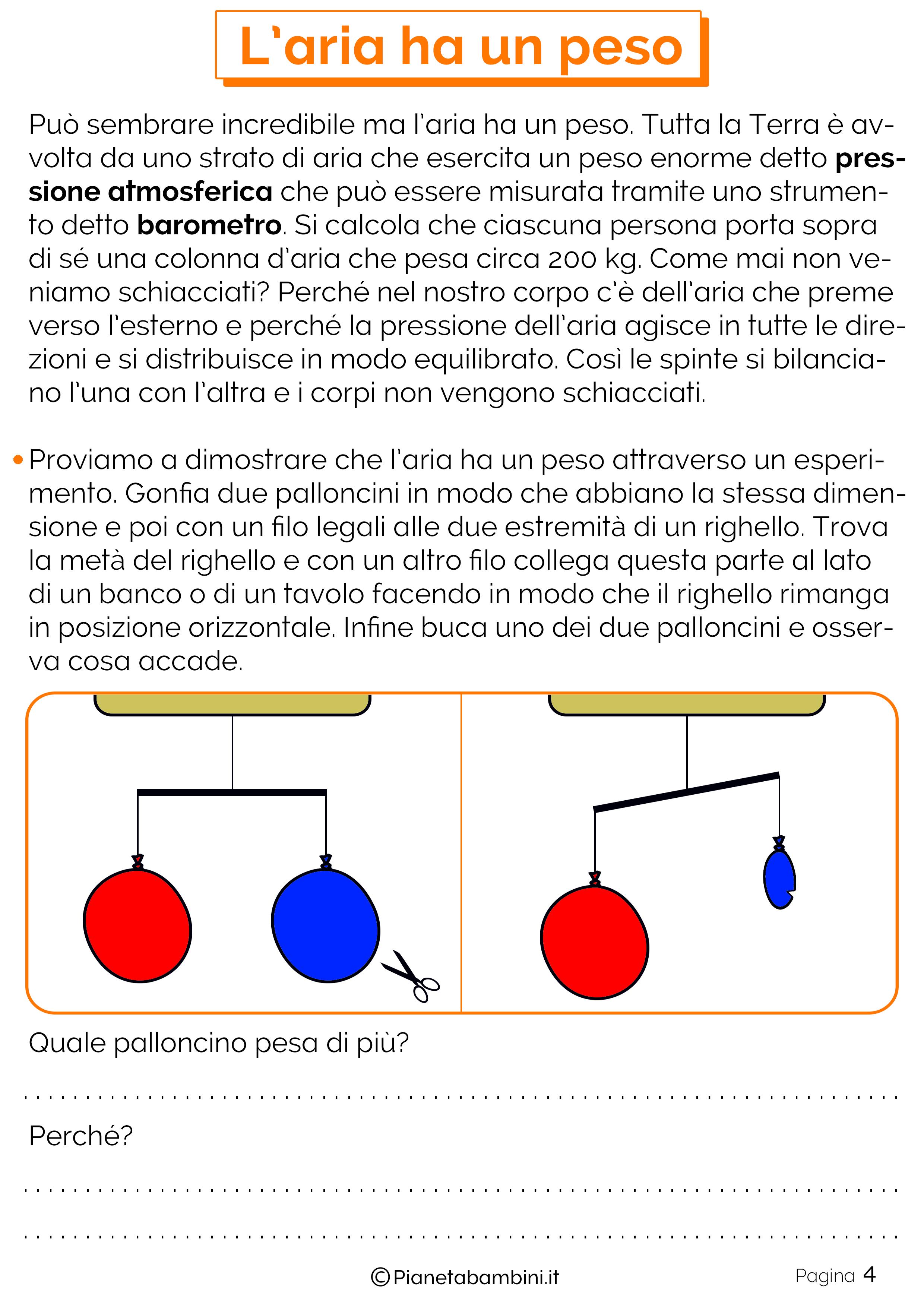 Esercizi sul peso dell'aria