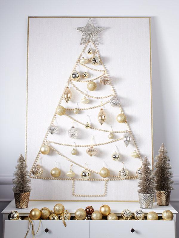 Albero di Natale murale con le perle