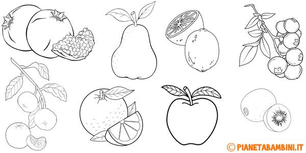 Disegni di frutta invernale da stampare gratis e colorare