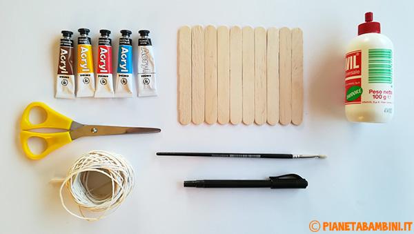 Occorrente per la creazione di un presepe con bastoncini