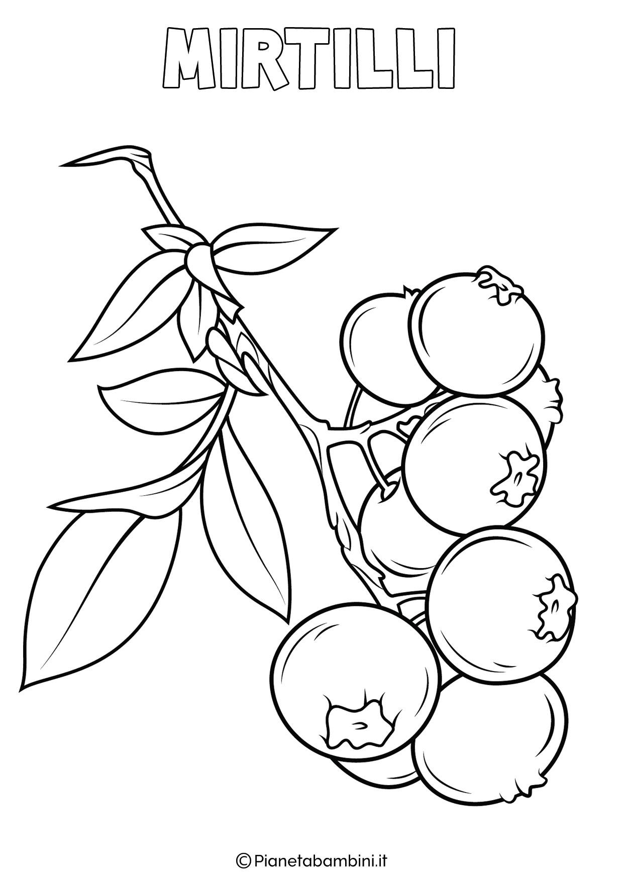 Disegno di mirtilli da colorare