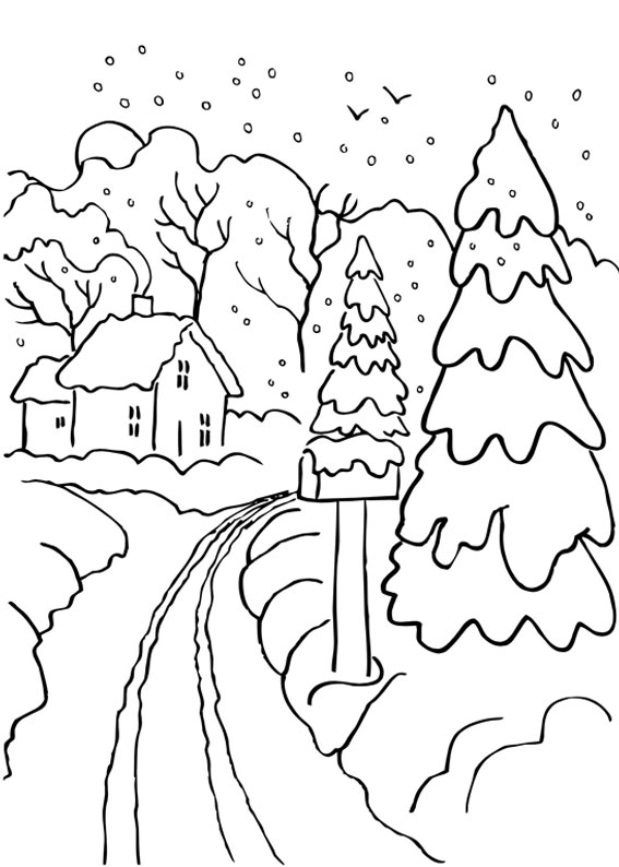 disegni da colorare bosco in inverno