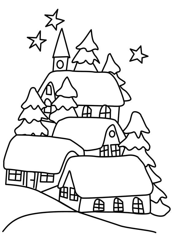 Disegno di paesaggio invernale da colorare n.02