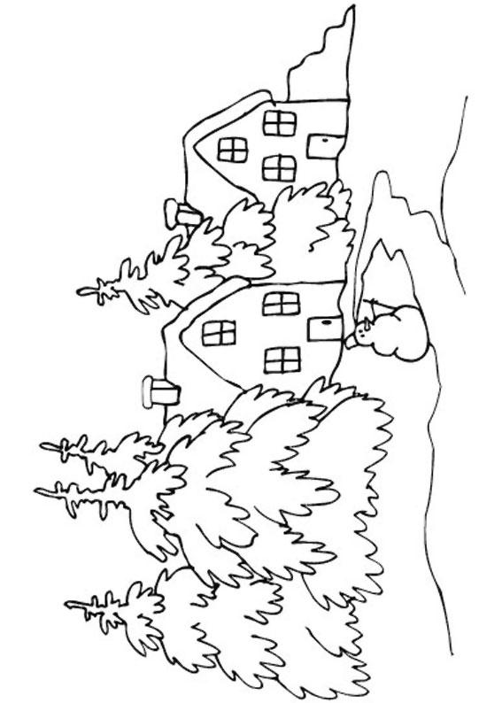 Disegno di paesaggio invernale da colorare n.03