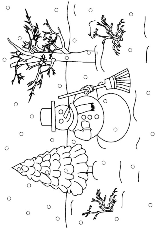 Disegno di paesaggio invernale da colorare n.04