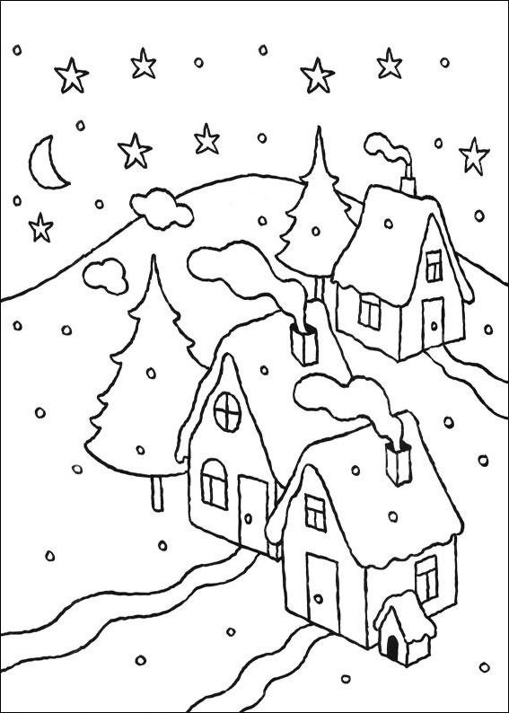 Disegno di paesaggio invernale da colorare n.05
