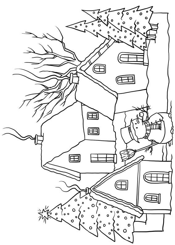 Disegno di paesaggio invernale da colorare n.08