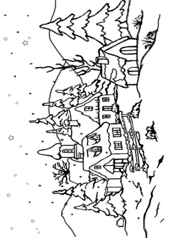 Disegno di paesaggio invernale da colorare n.09