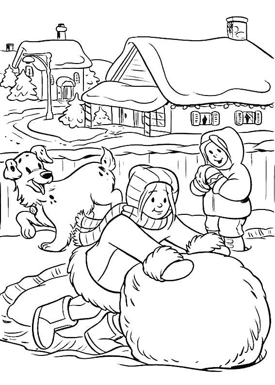 Disegno di paesaggio invernale da colorare n.12