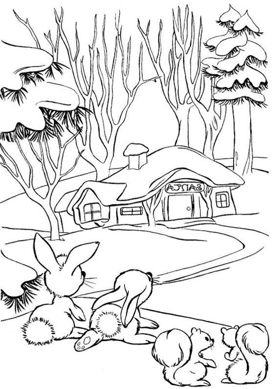 Disegno di paesaggio invernale da colorare n.14