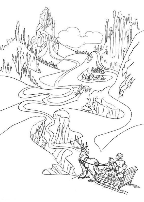 Disegno di paesaggio invernale da colorare n.16