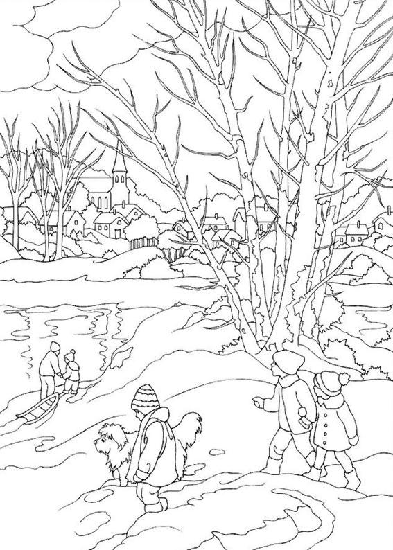 Disegno di paesaggio invernale da colorare n.15