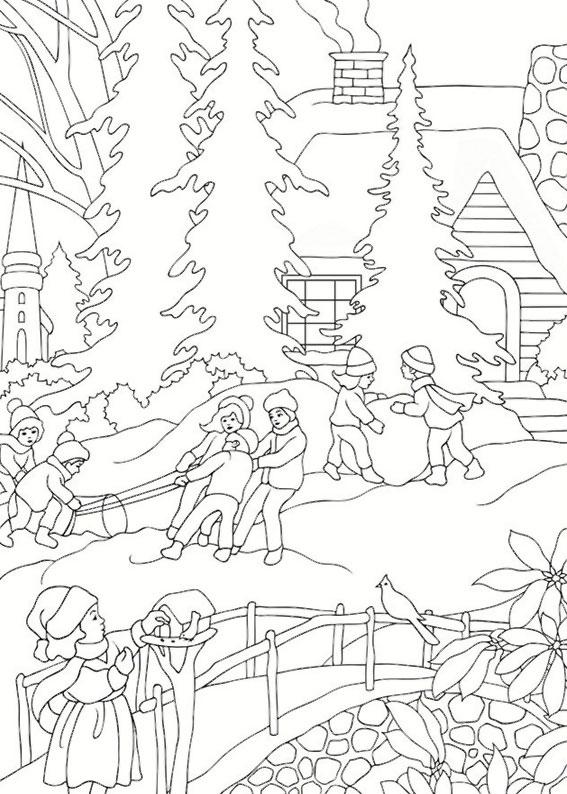Disegno di paesaggio invernale da colorare n.17