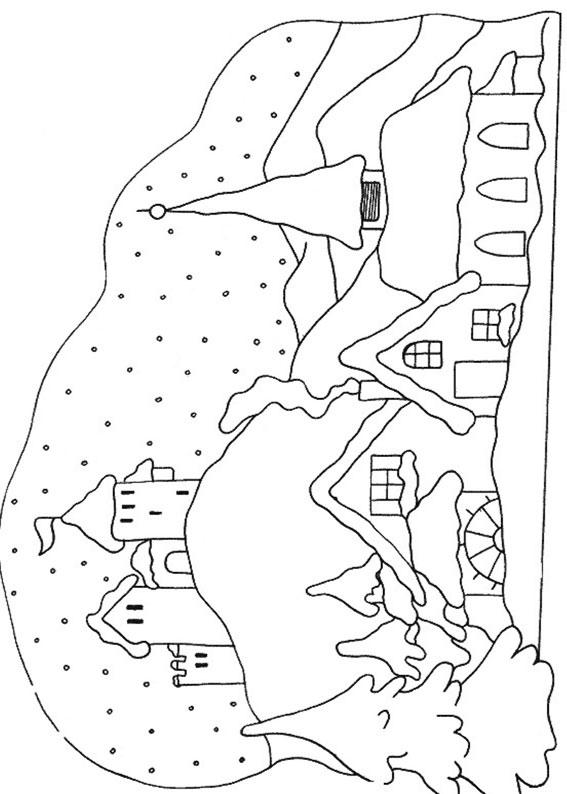 Disegno di paesaggio invernale da colorare n.18