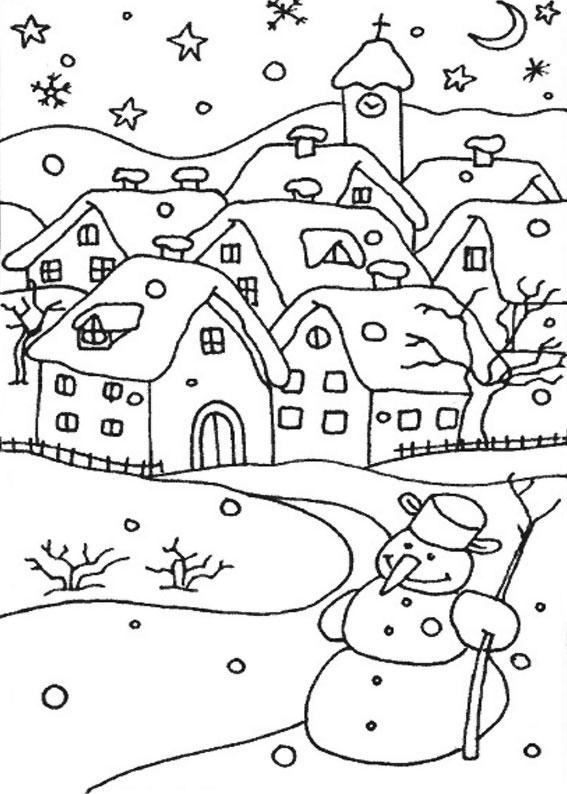 Disegno di paesaggio invernale da colorare n.19