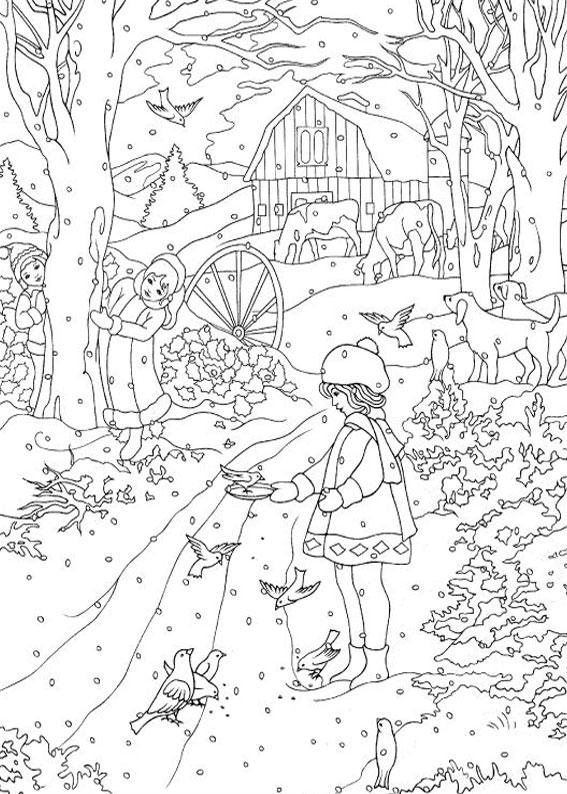 Disegno di paesaggio invernale da colorare n.20