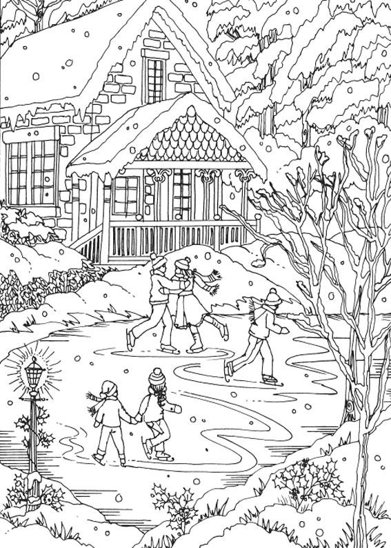 Disegno di paesaggio invernale da colorare n.21