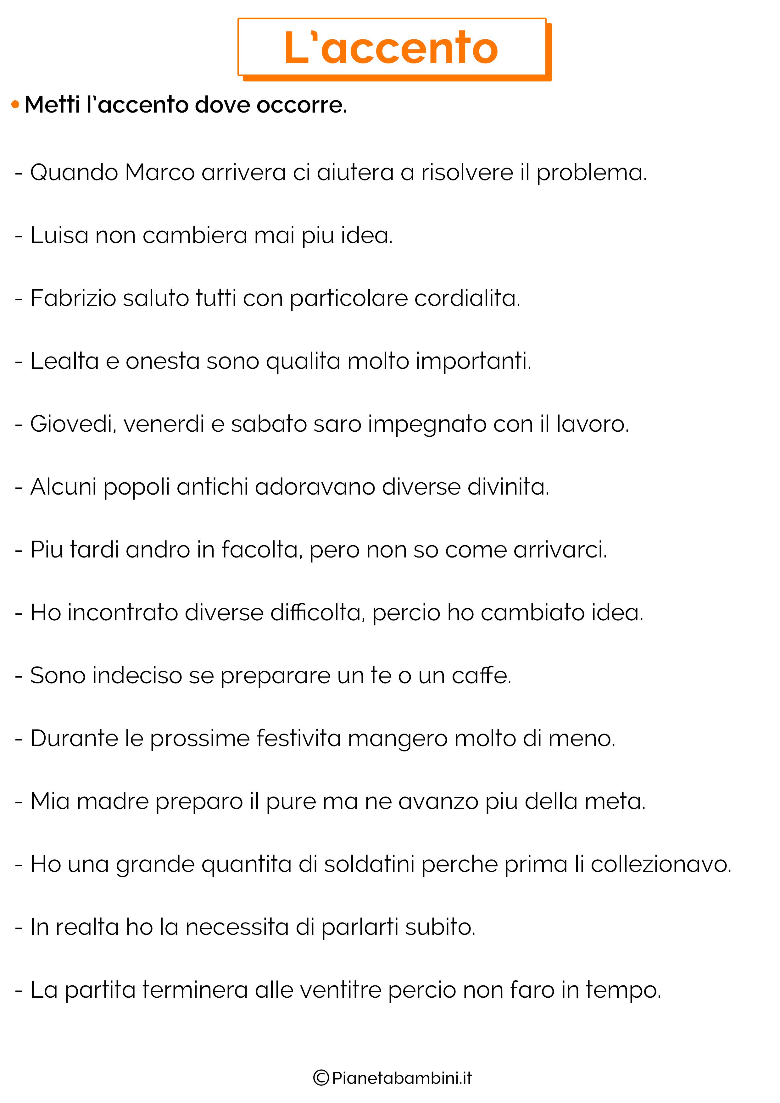 Esercizi sull'accento 9