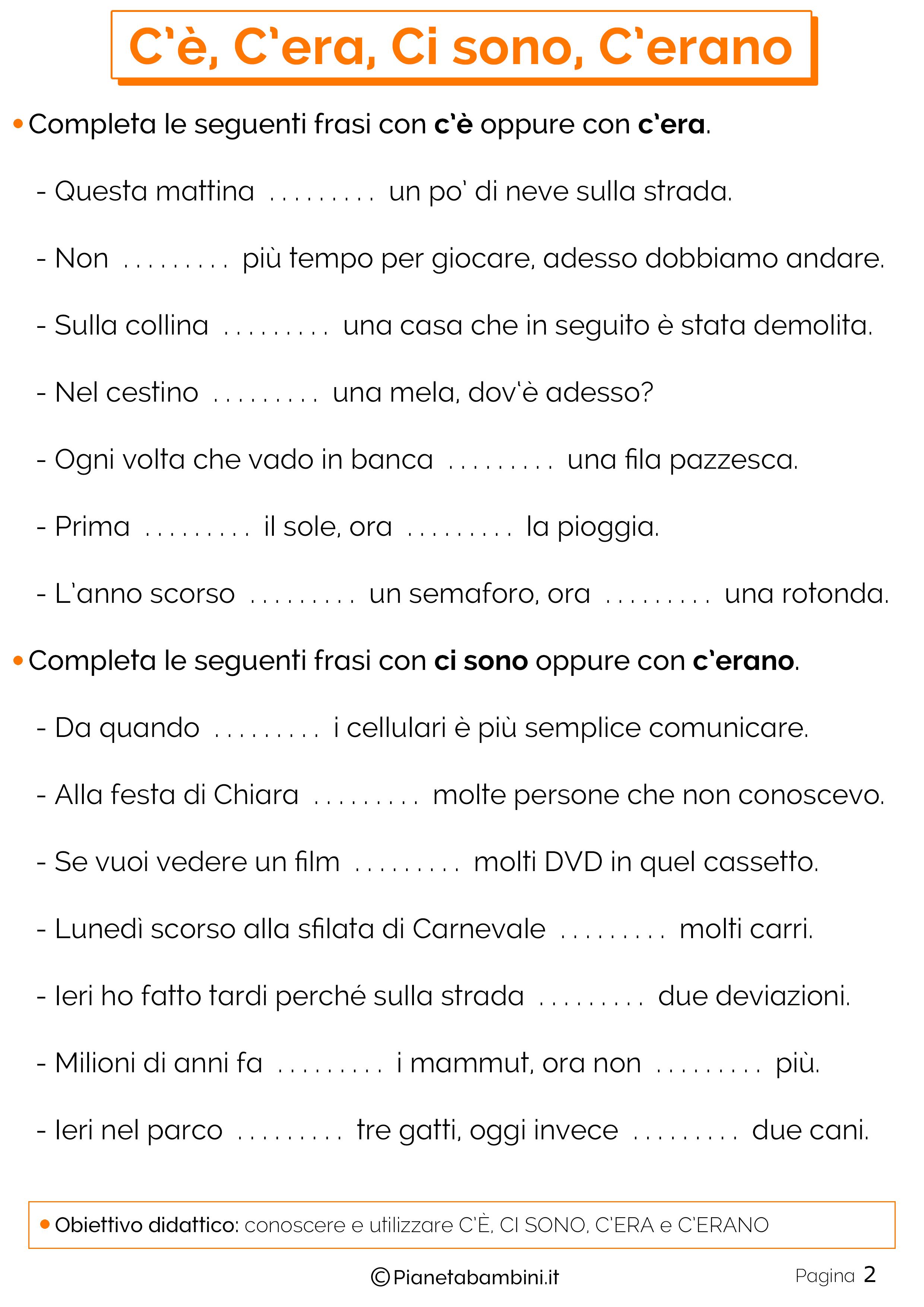 Esercizi su C'E Ci SonoC 'Era C'Erano 2