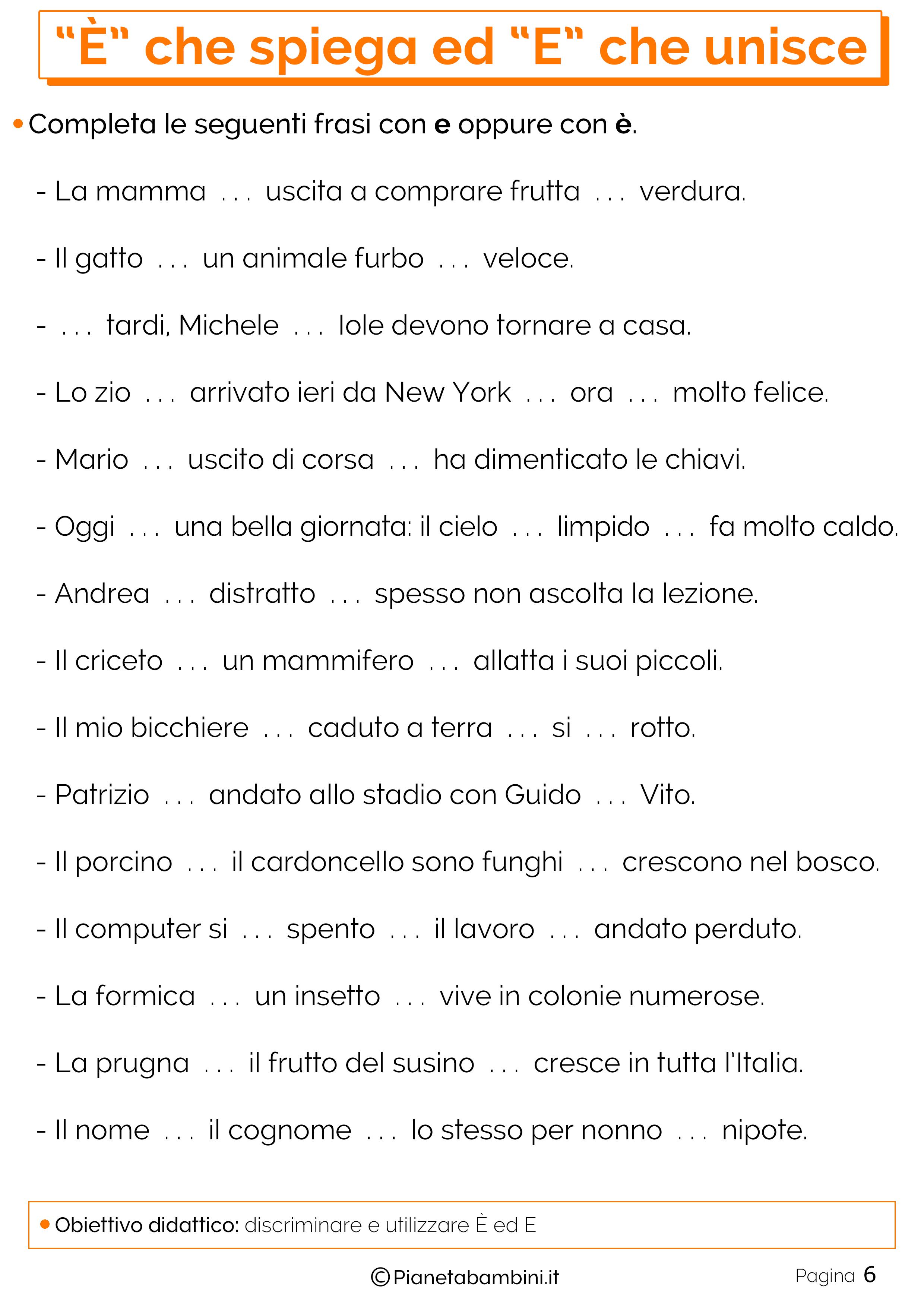 Esercizi E Che Spiega E Che Unisce 6