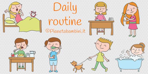 Esercizi sulla daily routine in inglese per bambini