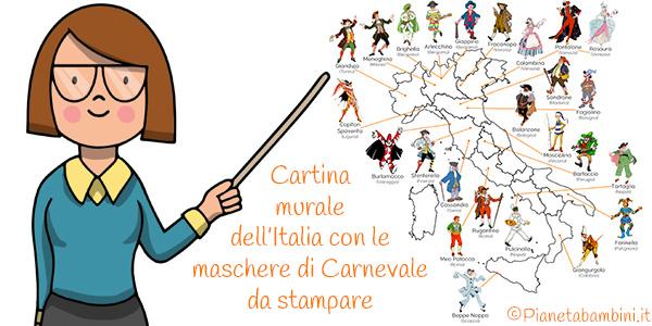 Cartina murale dell'Italia con le maschere di Carnevale tradizionali