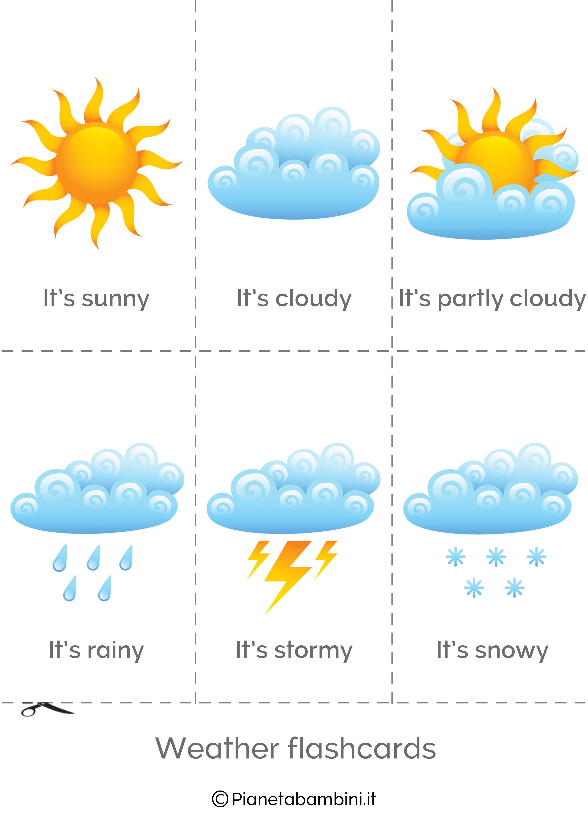 Flashcard sul tempo atmosferico in inglese da stampare 1