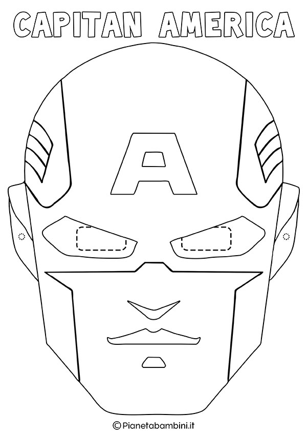 Maschera di Capitan America da colorare da stampare gratis per bambini
