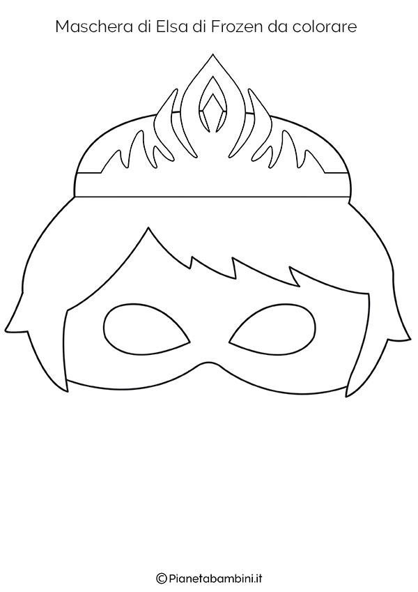 Maschera di Elsa di Frozen da stampare gratis e colorare